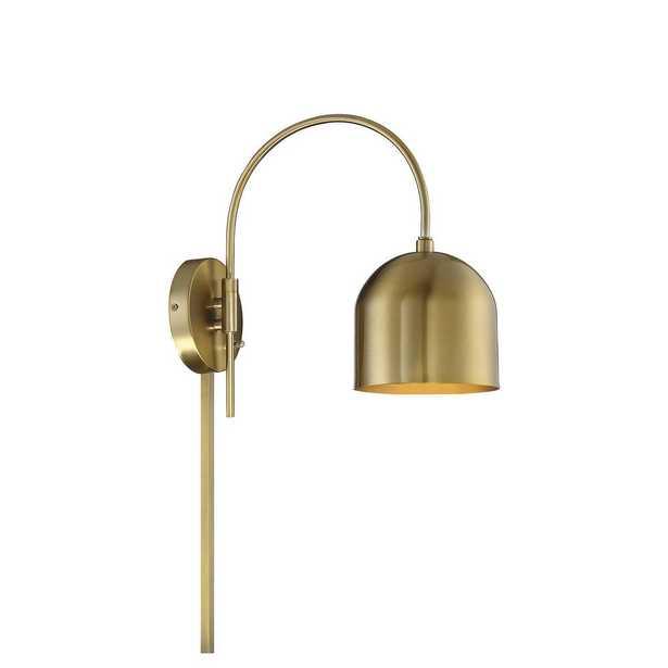 1-Light Natural Brass Sconce - Home Depot