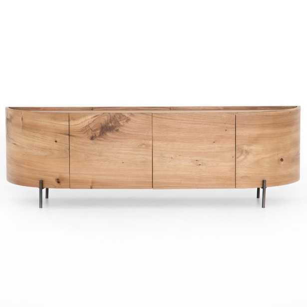 Luna Rustic Lodge Brown Wood Black Iron Media Console - Kathy Kuo Home