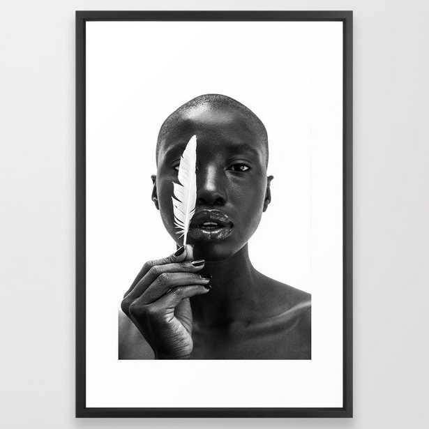 White Feather Framed Art Print - Society6