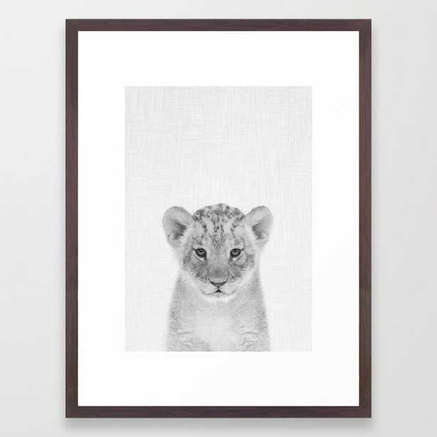 "Baby Lion Framed Art Print, 20""x26"", Conservation Walnut Frame - Society6"