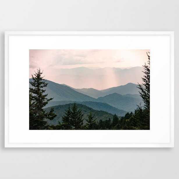 """Smoky Mountain Pastel Sunset Framed Art Print, 26""""x38"""", Vector White Frame - Society6"""