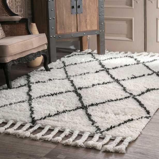 Twinar Geometric Hand-Knotted Wool Off White/Dark Gray Area Rug 5'x8' - AllModern