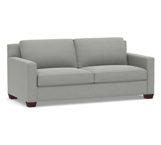 """York Square Arm Upholstered Sofa 80.5"""", Down Blend Wrapped Cushions, Performance Suede Metal Gray - Pottery Barn"""