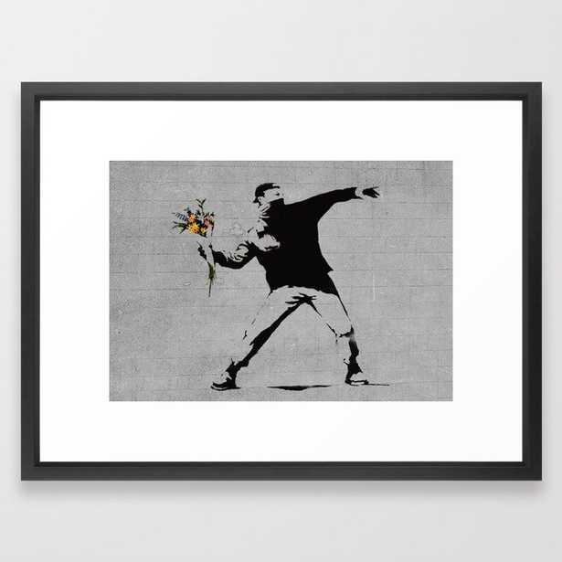 Bansky Flower Bomber Framed Art Print - Society6