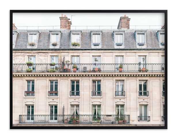 days in paris in crema by jessica c. nugent - 40x30 with rich black wood frame - Minted