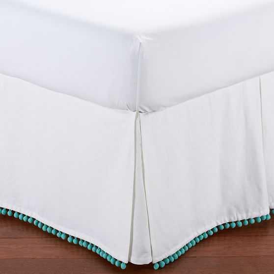 Pom Pom Bed Skirt, Pool, Full - Pottery Barn Teen