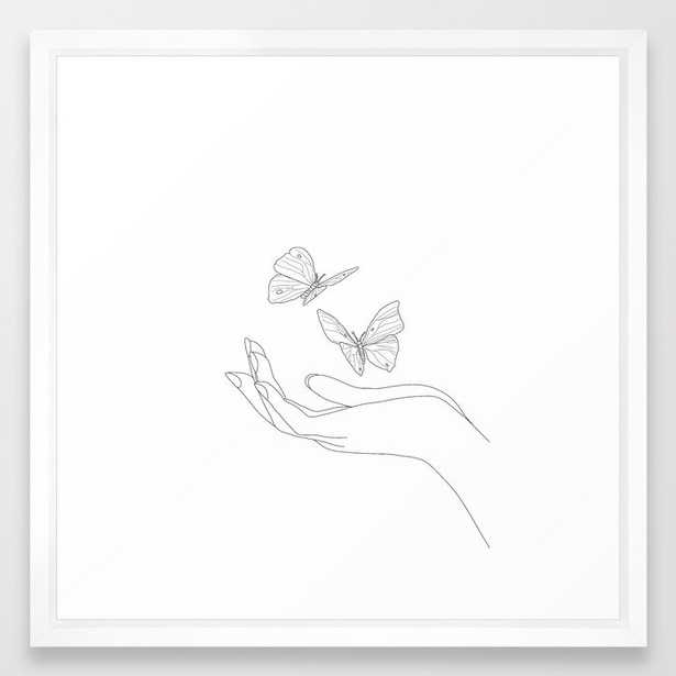 Butterflies on the Palm of the Hand Framed Art Print - Society6