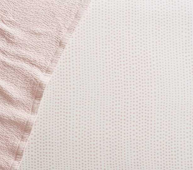 Organic Blush Falling Dot Fitted Crib Sheet - Pottery Barn