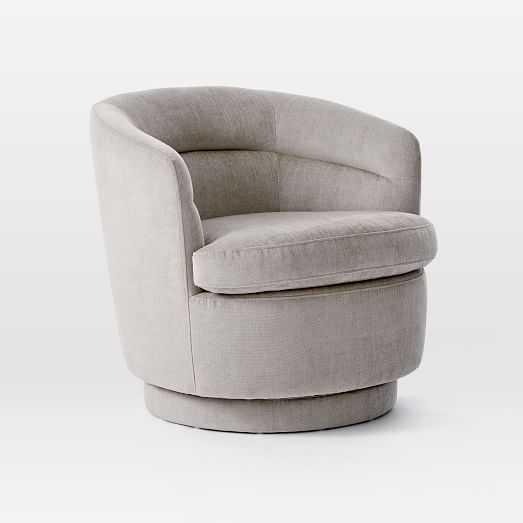 Viv Channeled Swivel Chair, Poly, Distressed Velvet, Dune, Concealed Support - West Elm