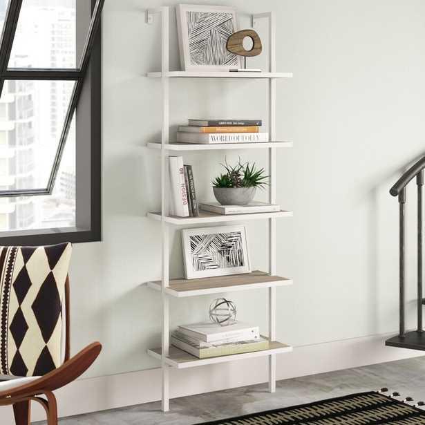 Christen Ladder Bookcase - Gray Oak Wood/White Metal Frame - AllModern