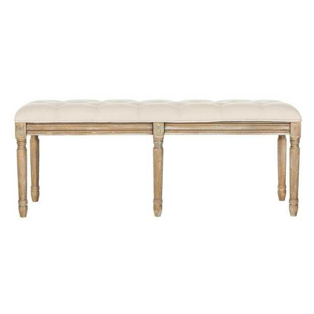 Beige; Gray Fleur Upholstered Bench - Wayfair