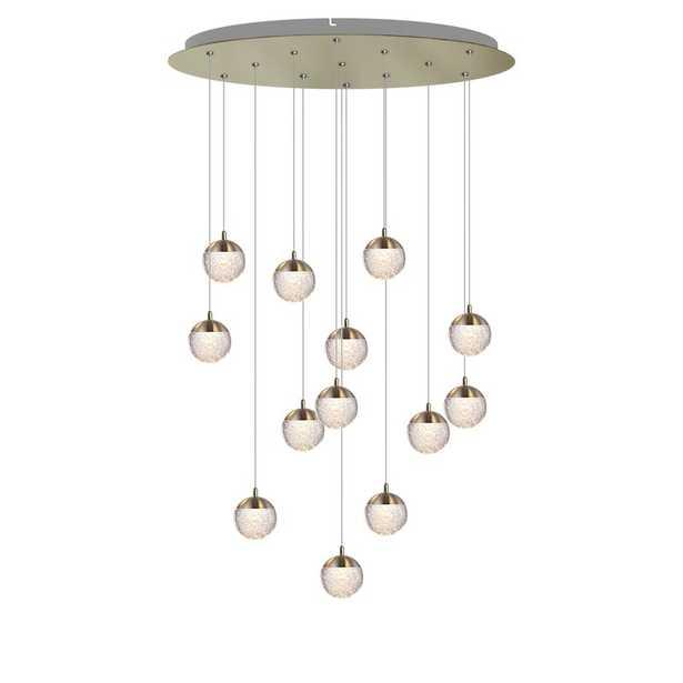 Heatherly 13-Light LED Cluster Globe Pendant,  Brushed Brass - Wayfair