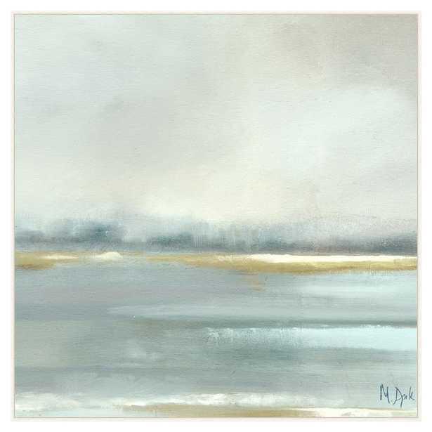 Camila Coastal Blue Grey Mist Abstract Canvas Painting - Kathy Kuo Home