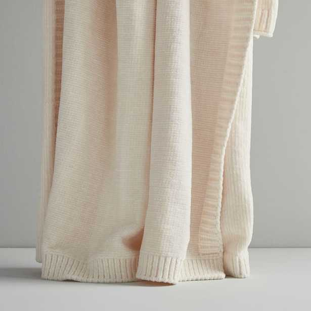 Luxe Chenille Throw,Ivory - West Elm