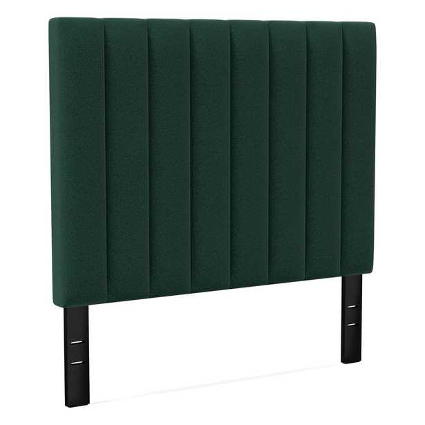 Channel Tufted Headboard Tall, Queen, Distressed Velvet, Forest - West Elm