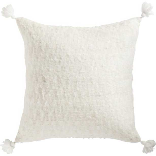 """23"""" SVEN WHITE TASSEL PILLOW WITH FEATHER-DOWN INSERT - CB2"""