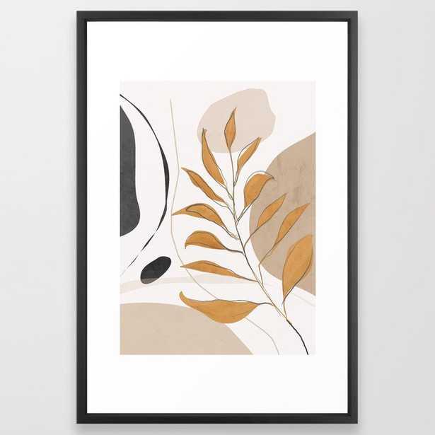 Minimal Abstract Art Tropical Leaf Framed Art Print - Society6