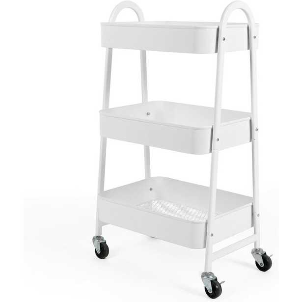 3-Tier Utility Rolling Cart with Large Storage and Metal Wheels - Wayfair