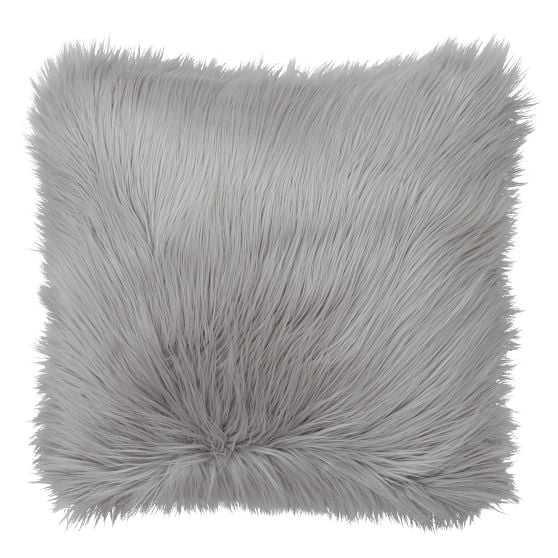 Fur-rific Faux-Fur Pillow Covers - Himalayan Gray - Cover + Insert - Pottery Barn Teen