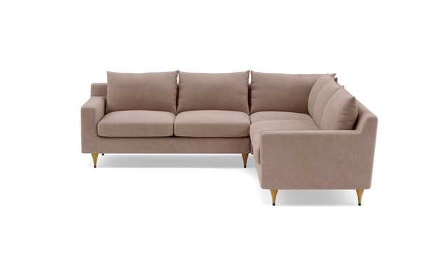 Sloan Corner Sectional with Platinum Performance Velvet Fabric and Natural Oak with Antique Cap legs - Interior Define