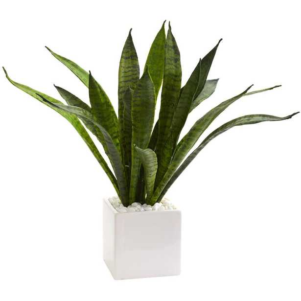 """18"""" Sansevieria Artificial Plant in White Planter - Fiddle + Bloom"""