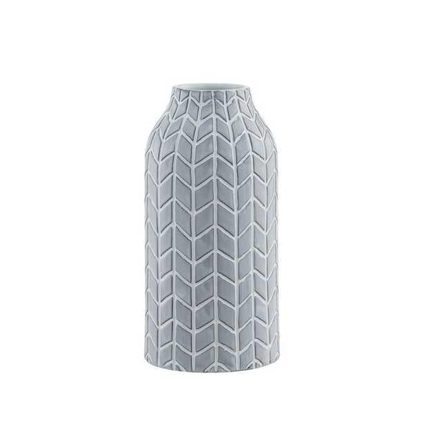 Gray Chevron Chic Vase - Wayfair