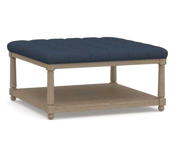 Berlin Upholstered Square Ottoman, Brushed Crossweave Navy - Pottery Barn