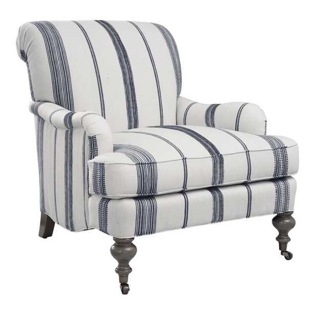 "Imagine Home Chatsworth 33"" W Cotton Armchair Fabric: Natural/Navy Stripe - Perigold"