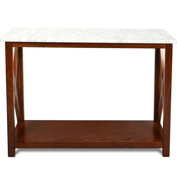 "Meith 39"" Rectangular Italian Carrara White Marble Console Table With Walnut Colour Solid Wood Legs - Wayfair"