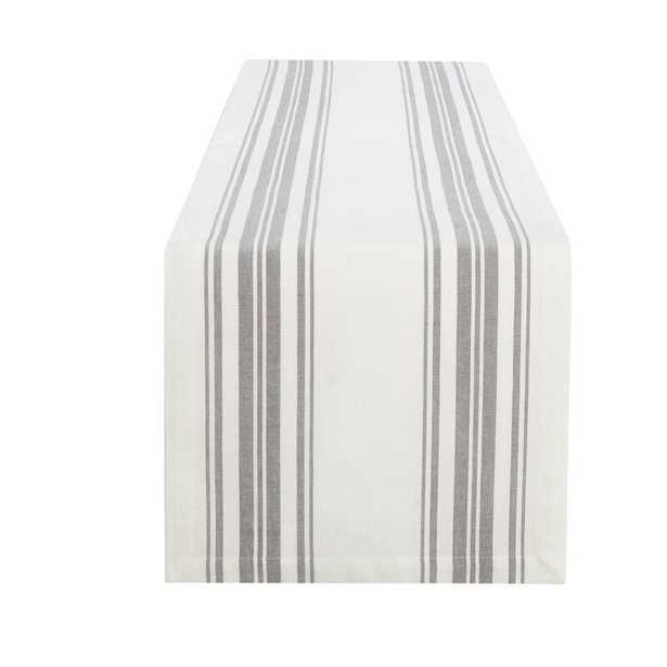 Rose Farmhouse Living Homestead Stripe Table Runner - Gray/White - Wayfair