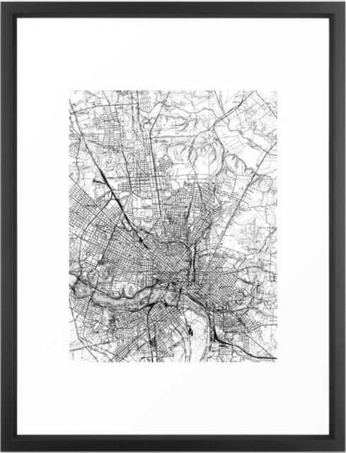 Vintage Map of Richmond Virginia (1934) BW Framed Art Print - Society6