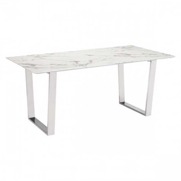 Atlas Dining Table Stone & Brushed Ss - Zuri Studios