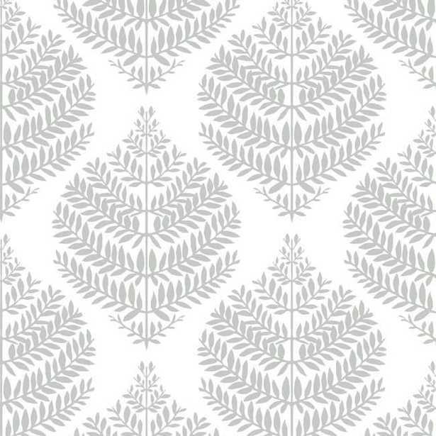 Hygge Fern Damask Peel and Stick Wallpaper, Gray - York Wallcoverings