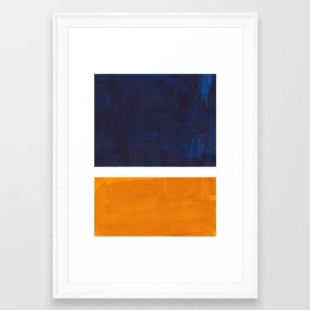 Navy Blue Yellow Ochre Abstract Minimalist Rothko Colorful Mid Century Color Block Pattern Framed Art Print - Society6