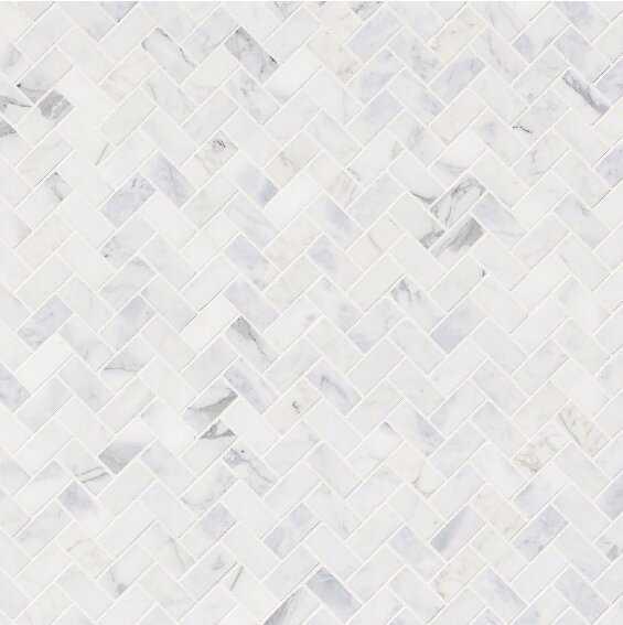 "Calacatta Cressa 1"" x 2"" Marble Herringbone Mosaic Wall & Floor Tile - Wayfair"