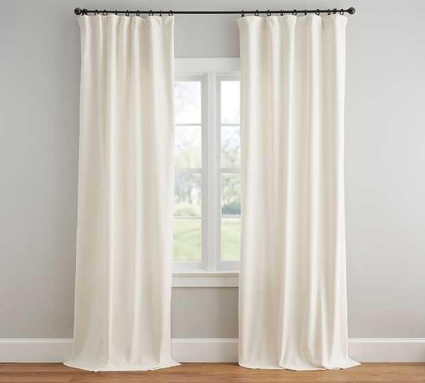Velvet Twill Rod Pocket Curtain - Ivory - Pottery Barn