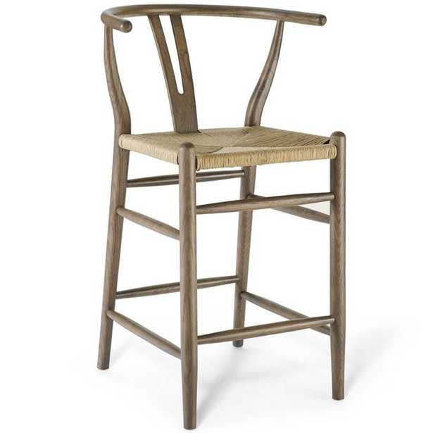 Amish Wood Counter Stool in Gray - Modway Furniture