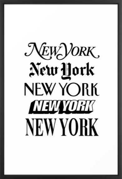 I Heart New York City Black and White New York Poster I Love NYC Design black-white home wall decor Framed Art Print - Society6