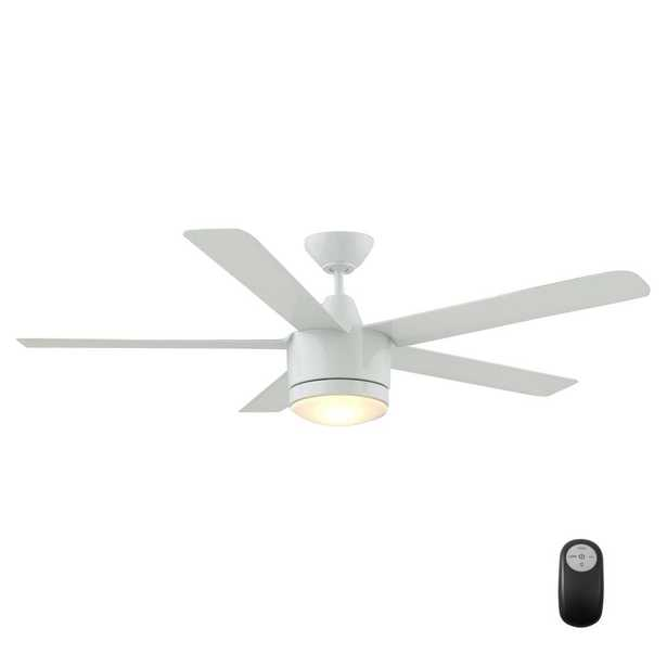 Merwry 48 in. Integrated LED Indoor White Ceiling Fan with Light Kit and Remote Control - Home Depot