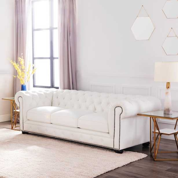 """Dale Genuine Leather Chesterfield 95"""" Rolled Arm Sofa - White - Birch Lane"""