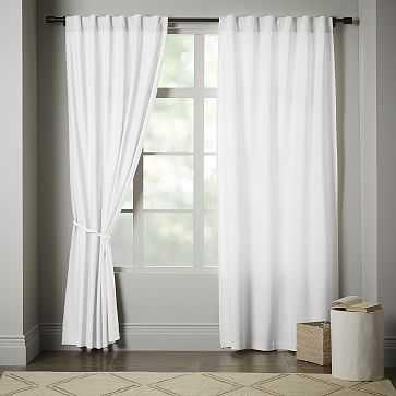 """Linen Cotton Pole Pocket Curtain + Blackout Panel, White, 48""""x84"""" - West Elm"""
