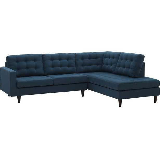 EMPRESS 2 PIECE UPHOLSTERED FABRIC RIGHT FACING BUMPER SECTIONAL IN AZURE - Modway Furniture