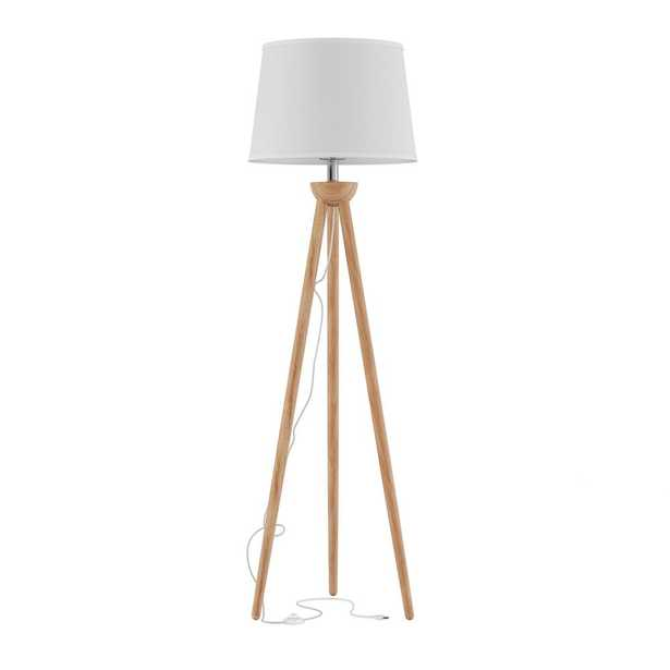 Lavish Home 58 in. Modern Natural Wood Oak Tripod LED Floor Lamp with White Shade - Home Depot