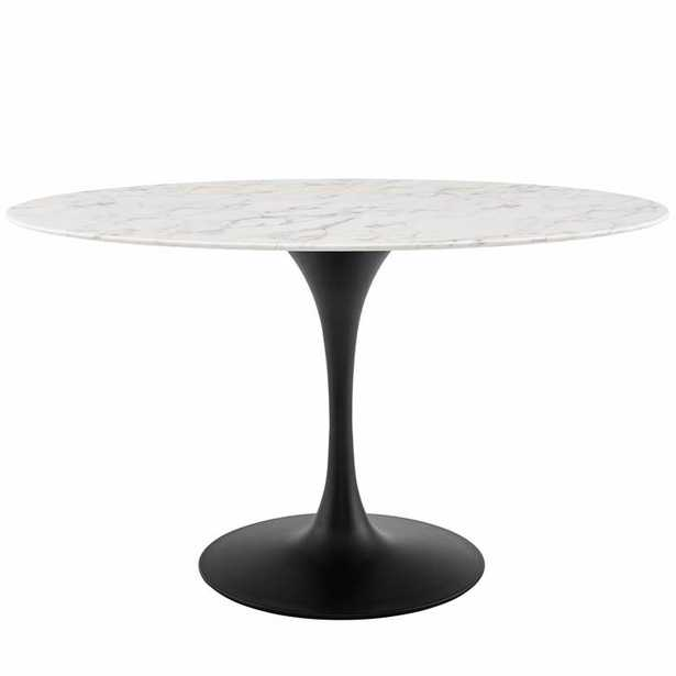 """Lippa 54"""" Oval Artificial Marble Dining Table in Black White - Modway Furniture"""