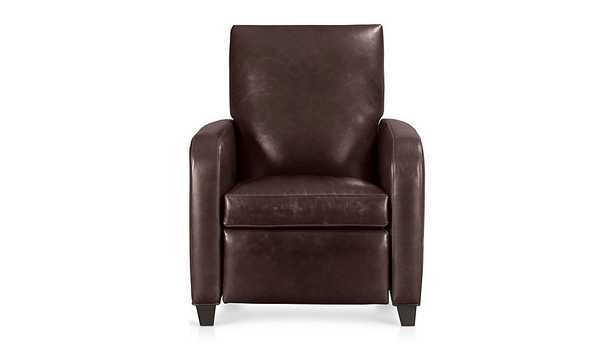 Royce Leather Recliner, Libby Cashew - Crate and Barrel