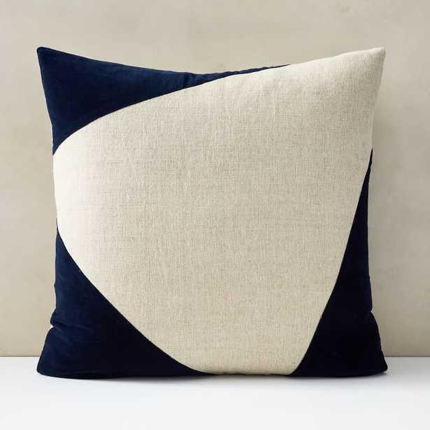 "Cotton Linen + Velvet Corners Pillow Cover , Midnight, 24""x24"" set of 2 - West Elm"