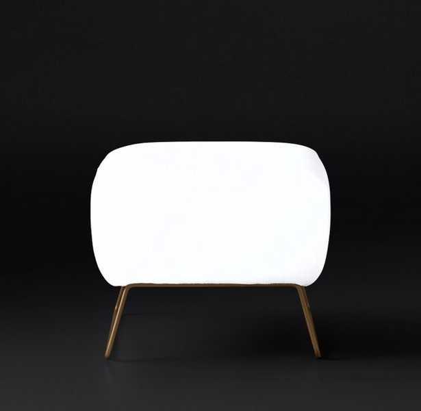 LIAM FABRIC OTTOMAN - Matte Brass Finish - Belgian Linen White Fabric - RH Modern