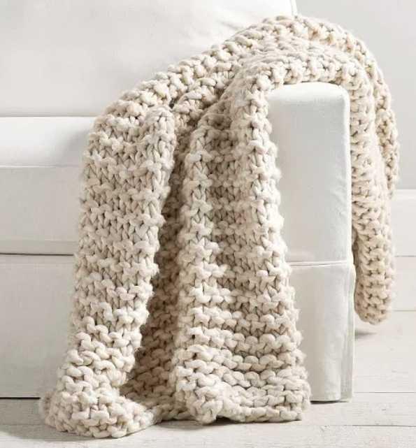 "Pottery Barn, Colossal Chunky Hand-Knit Throw, 44 x 56"", Neutral - Pottery Barn"