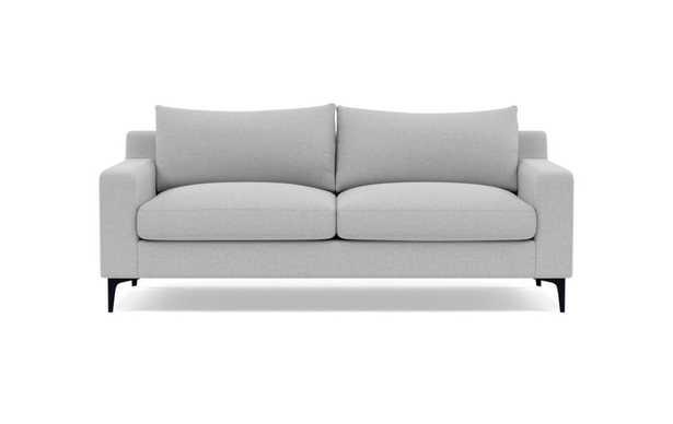 Sloan Deep Seat Sofa in Ecru Monochromatic Plush Fabric with painted black Tapered Legs - 91 - Interior Define