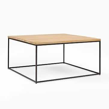 Streamline Square Coffee Table, Whitewashed Mango Wood, Antique Bronze - West Elm